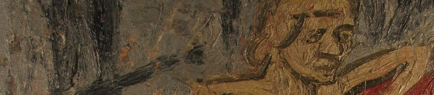 Coffee Conversation: Fidelma in a Red Chair by Leon Kossoff